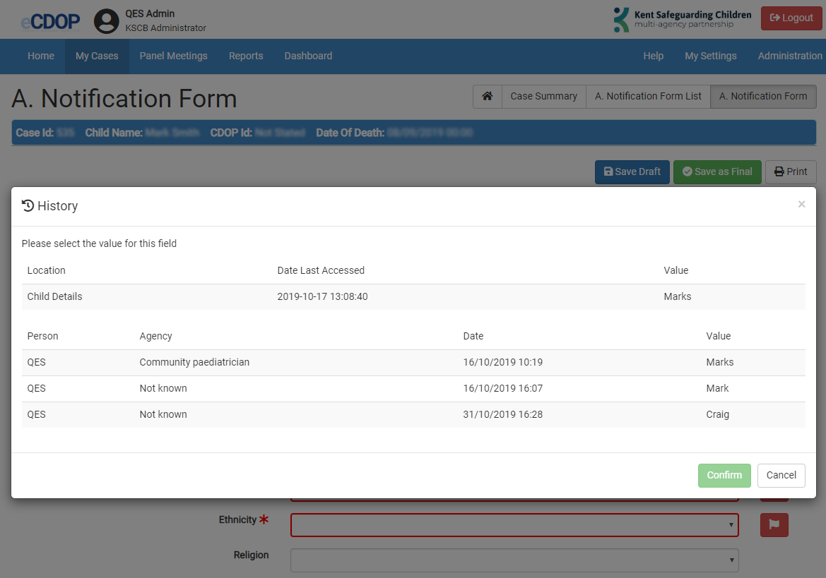 Consolidating Notification Form